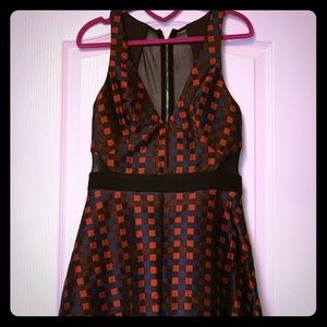 ABS Sz 8 A line checked dress w/sheer back&sides